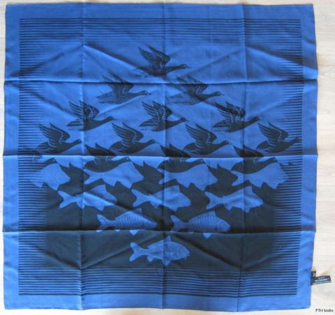 M.C. Escher # AIR and WATER, Blue scarf, silk# mint with tags