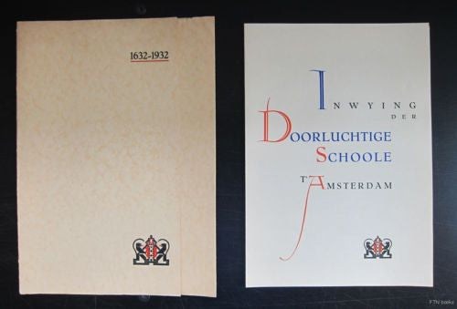 Fre Cohen, dutch typography # DOORLUCHTIGE SCHOOLE # 1932,nm and mint-