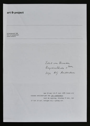 Art & Project # Jan COMMANDEUR, invitation # 1985, mint-