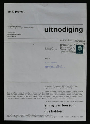 Art & Project , invitation # EMMY VAN LEERSUM en GIJS BAKKER # 1970, nm+