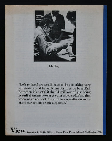 View, Robin Wright # interview JOHN CAGE # 1978, nm