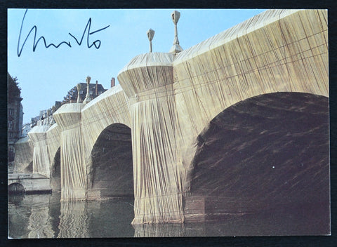 Christo  & Jeanne-Claude # PONT NEUF project # signed postcard, 1985, nm++