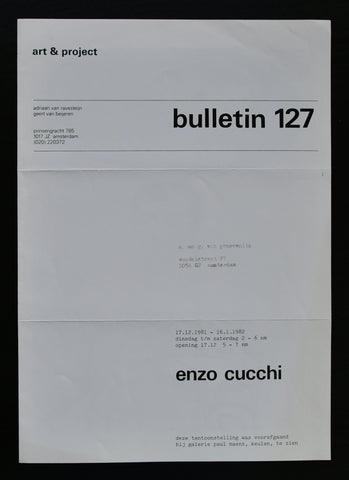 Art & Project # ENZO CUCCHI, Bulletin 127 # 1982, nm++