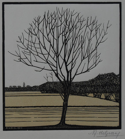 Julie de Graag, woodcut # BARE TREE # 1919, signed, mint-
