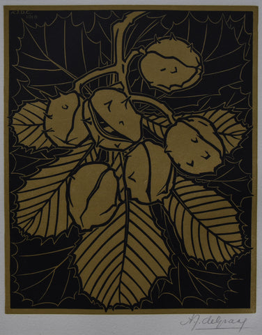 Julie de Graag # KASTANJES # woodcut, signed , 1919, mint