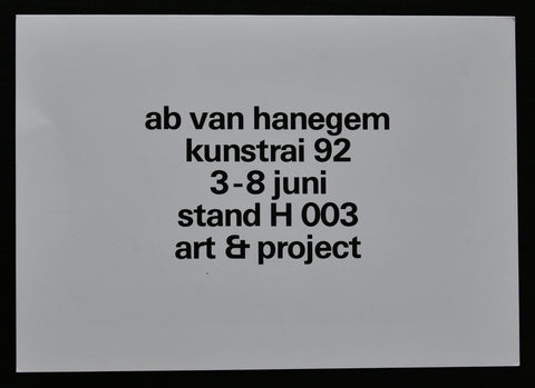 Art & Project # AB VAN HANEGEM , Kunstrai # invitation, 1992, mint-