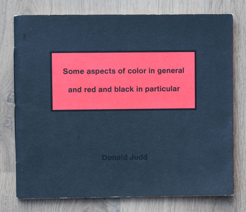 Sikkens award # DONALD JUDD , Some Aspects......# 1993, nm