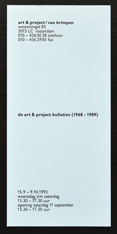 Art & Project / van Krimpen # DE ART & PROJECT BULLETINS # 1993, mint