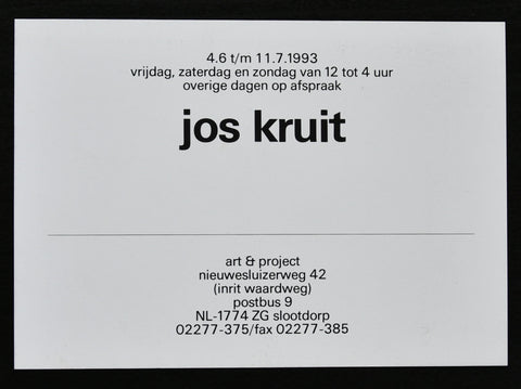 Art & Project # JOS KRUIT # invitation, 1993, mint