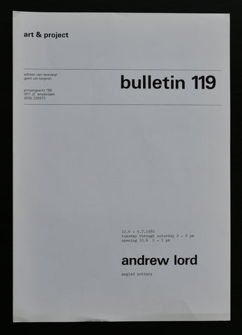 Art & Project # ANDREW LORD , Bulletin 119 # 1980, mint-
