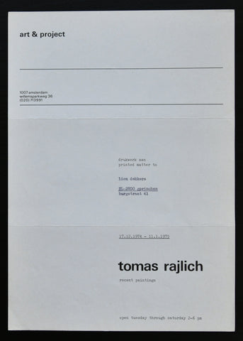 Art & Project # TOMAS RAJLICH # 1974/1975, mint-