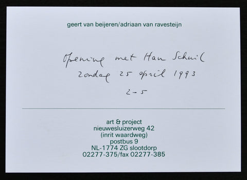 Art & Project # HAN SCHUIL, handwritten invitation by van Beijeren # 1993, mint