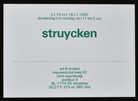 Art & Project # STRUYCKEN # invitation, 1990 , mint