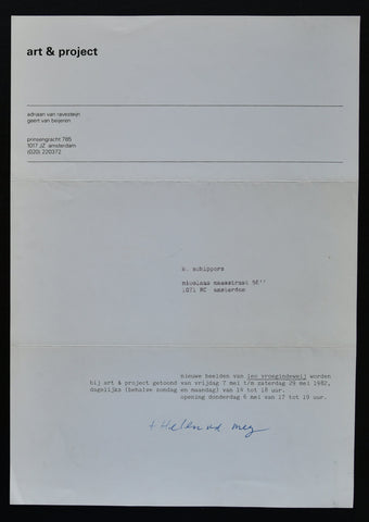 Art & Project # LEO VROEGINDEWEIJ # invitation, 1980, nm++