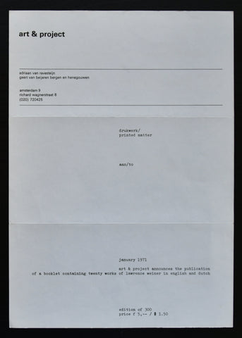 Art & Project # LAWRENCE WEINER # announcement, 1971, mint--