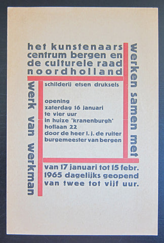 Centrum Bergen Noordholland # Werk van WERKMAN # invitation card, 1965, NM++