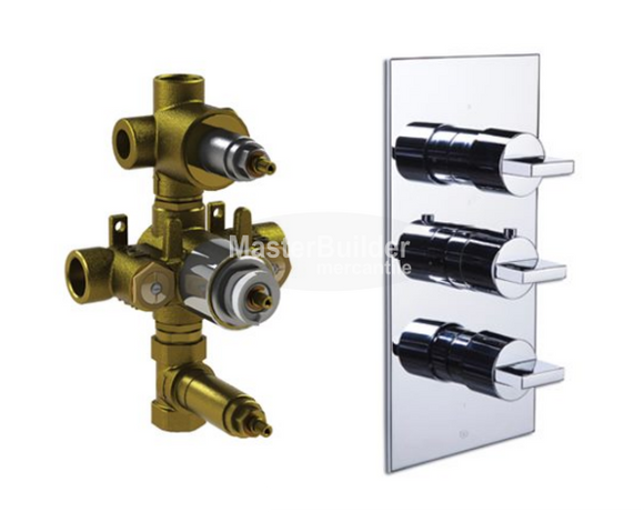Blu Bathworks TSU935 + TS935 Thermostatic Tub/Shower Valve Trim w/ 2-way Diverter, Volume Control + Rough-In Valve