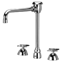"Zurn Z831U2-XL Lead-Free Widespread Faucet with 6"" Vacuum Breaker Spout and Four Arm Handles"