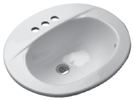 "Zurn Z5134 20"" x 17"" Countertop Drop-In Lavatory with 4"" Center Faucet Holes, Canadian ADA Depth"