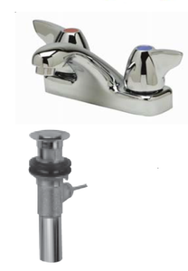 "Zurn Z81103-XL-P Lead-Free 4"" Centerset Faucet with Dome Lever Handles and Pop-Up Drain"