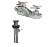 "Zurn Z81102-XL-P Lead-Free 4"" Centerset Faucet with Four Arm Handles and Pop-Up Drain"