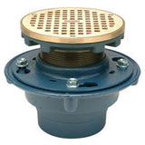 "Zurn ZN415-6BZ Floor Drain with Medium-Duty 6"" Round Nickel Bronze Leveling Strainer"