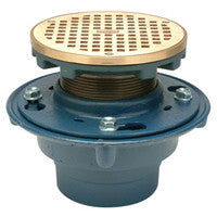 "Zurn ZN415-5BZ-P Floor Drain with Medium-Duty 5"" Round Nickel Bronze Leveling Strainer"