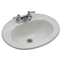 "Zurn Z5118 20"" x 17"" Drop-In Countertop Lavatory w/ 8"" Center Faucet Holes"