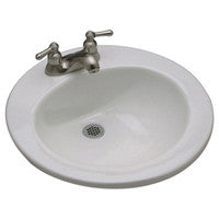 "Zurn Z5124 19"" Round Drop-In Countertop Lavatory with 4"" Center Faucet Holes"