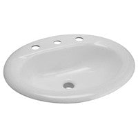 "Zurn Z5814 Drop-In Countertop Cast Iron Lavatory w/ 4"" Center Faucet Holes"