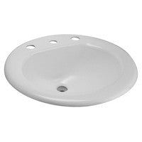 "Zurn Z5828 19"" Round Drop-In Countertop Cast Iron Lavatory w/ 8"" Center Faucet Holes"