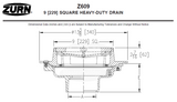 "Zurn Z609 9"" Square Heavy-Duty Drain"