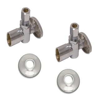 "Zurn ZH8826-XL-PC/Z8952-58-PC 1/2"" SWT x 3/8"" OD Solid Brass Wheel Handle Angle Stops Copper Sweat-to-Compression w/ Escutcheons (Set of 2)"
