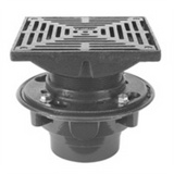 "Zurn ZX415-8Y Floor Drain with Heavy-Duty 8"" Square Cast Iron Strainer"