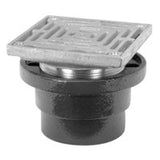 "Zurn ZXN211-6H-P Non-Membrane Floor Drain w/ Heavy-Duty 8"" Square Nickel Bronze Strainer"