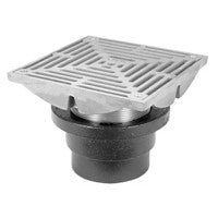 "Zurn ZXN211-8Y-P Non-Membrane Floor Drain w/ Heavy-Duty 8"" Square Nickel Bronze Strainer"