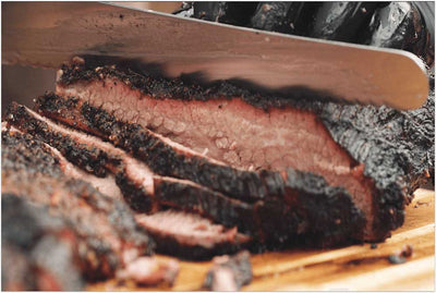 slicing smoked brisket