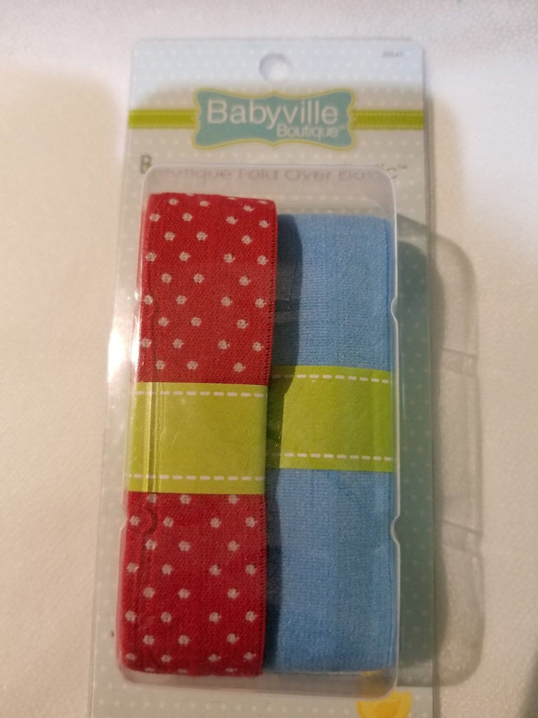 Babyville Boutique Fold Over Elastic Red Dots and Blue - The Artisans Gifting Company