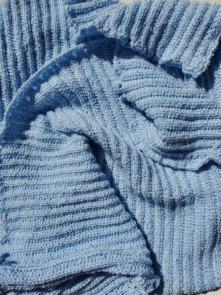 Handmade Blue Baby Blanket Crib Size - The Artisans Gifting Company