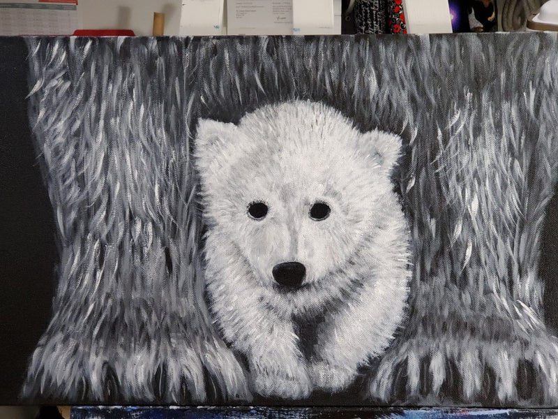 The Artisans Gifting Company Painting Polar Bears- Original Acrylic Painting on Stretched canvas