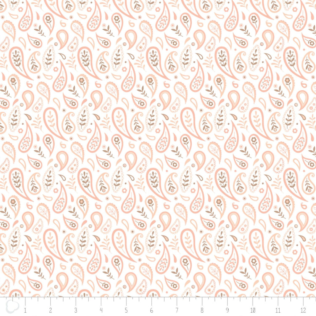 Cotton Fabric Olivia Collection Paisley in White by Camelot Studio in Canada - The Artisans Gifting Company