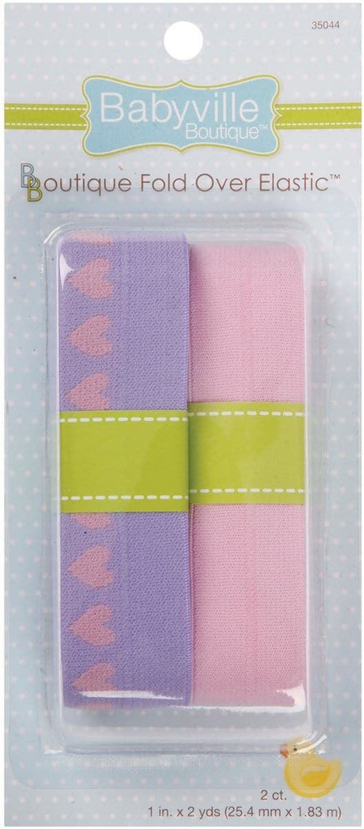 Babyville Boutique Quilting Supplies and Notions Fold Over Elastic Lavender Hearts and Pink