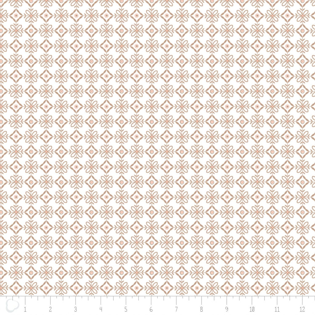 Olivia Collection- Lattice in Brown Sugar Fabric by the Metre - The Artisans Gifting Company