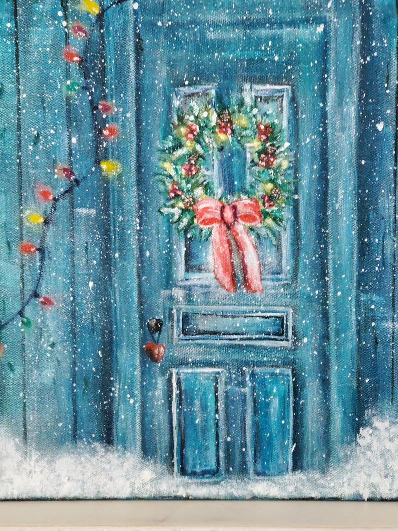 The Artisans Gifting Company Painting Rustic Christmas Door - Original Acrylic Painting on Stretched Canvas