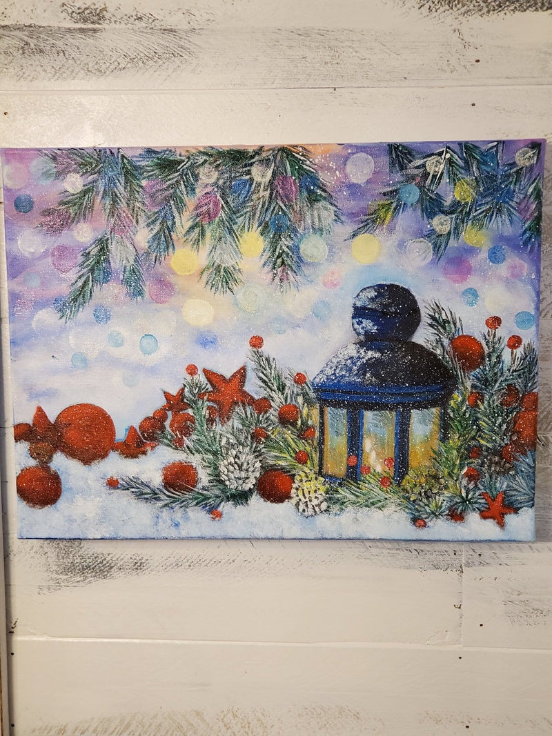 The Artisans Gifting Company Painting Christmas Lantern - Original Acrylic Painting on Stretched Canvas Board