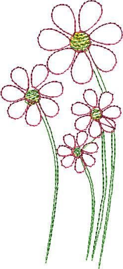 Pink Daisies Machine Embroidery Design - The Artisans Gifting Company