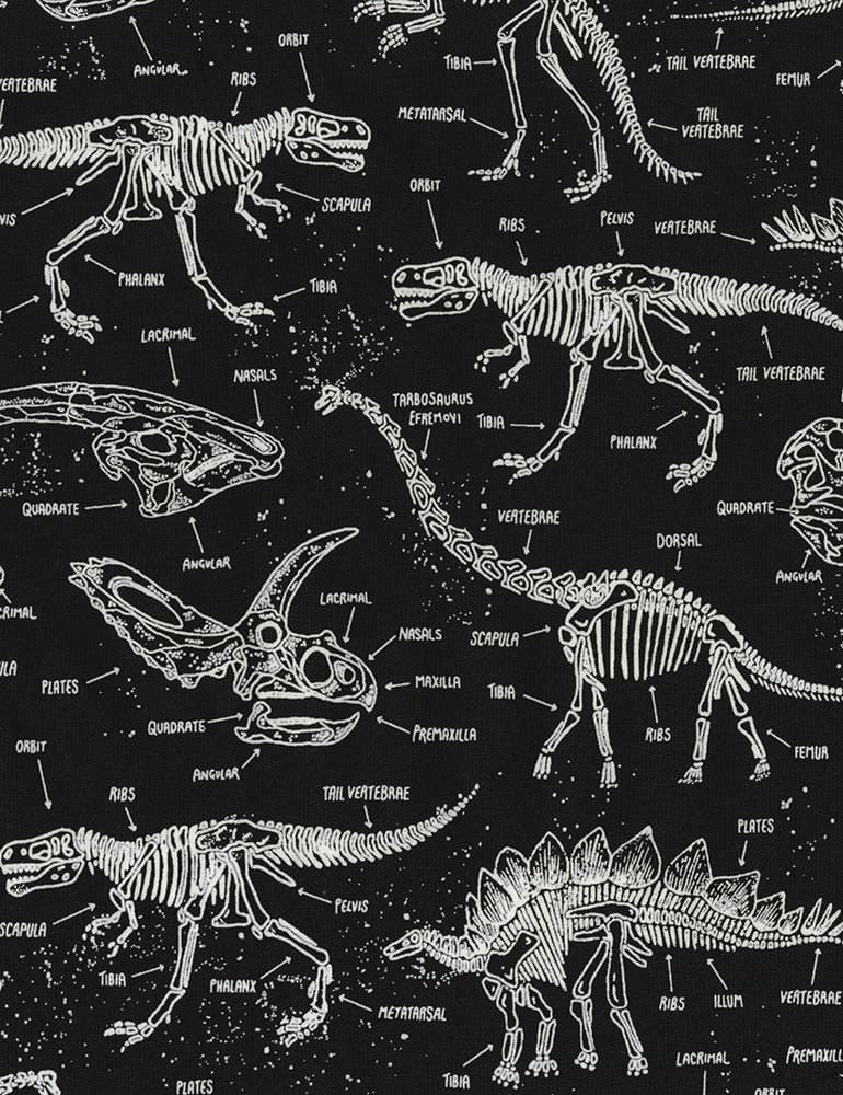 Timeless Treasures Fabric by the Metre Glow-in-the-Dark Dinosaur Skeletons - Fabric by the Metre