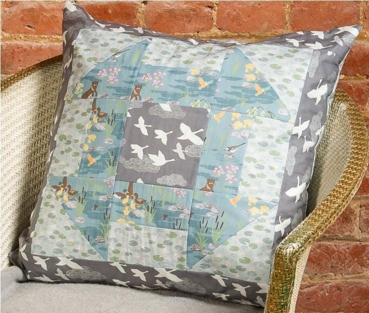 Down By The River Free Downloadable Quilted Cushion Cover Pattern - The Artisans Gifting Company