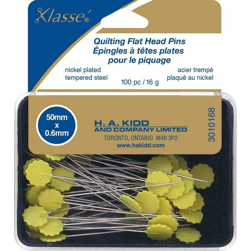 Klasse Pins Klasse Yellow Flat Head Quilting Pins 100 piece 50 mm (2 inch)
