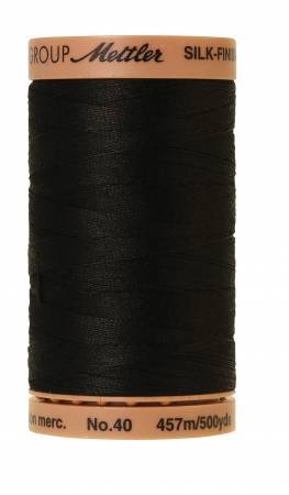 Silk-Finish 40 weight Solid Cotton Thread 500 yd/457 M Black - The Artisans Gifting Company